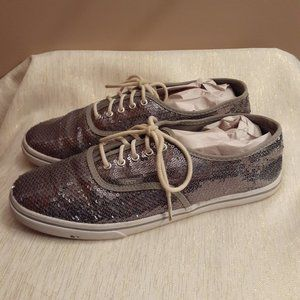 Vans Silver Sequin Lace Up Sneakers Women US 9